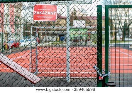 Ruzomberok, Slovakia - April 3, 2020: Closed Basketball And Football Playground In Centre Of City Du