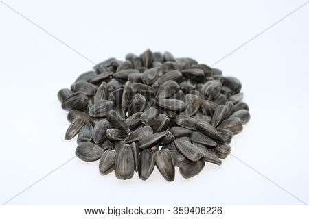 Sunflower Seeds - Photo Closeup . Raw Materials For The Production Of Vegetable Oil.