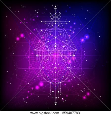 Vector Illustration Of Sacred Or Mystic Symbol On Abstract Background. Geometric Sign Drawn In Lines