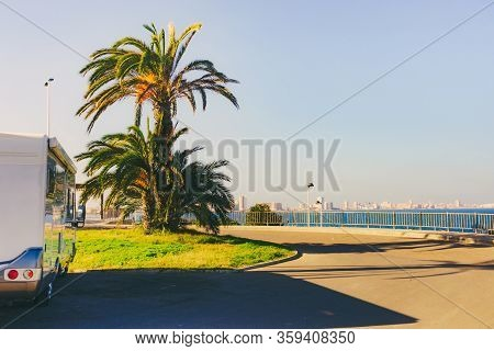 Caravan Rv On Tourist Site Cape Palos, Cartagen Murcia Region, Spain.
