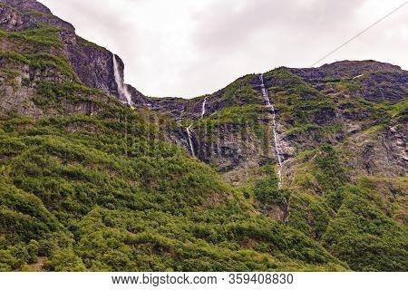 Kjelfossen Waterfalls Kjell Falls Seen From Gudvangen Village, Sogn Og Fjordane, Norway. Waterfall I