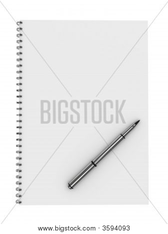 Blank Notebook With Pen Isolated On White