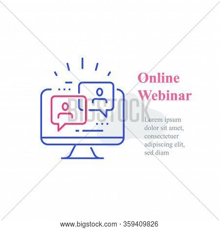 Webinar Concept, Online Course, Distant Education, Video Lecture, Internet Group Conference, Trainin
