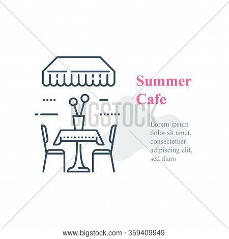 Summer Cafe, Table And Chairs Outside In Street, Eat At Restaurant, Diner Concept, Vector Line Icon