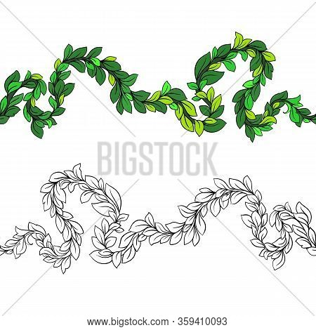 Branch With Foliage Pattern Without Borders. Vector Winding Branch With Foliage, Floral Ornament.