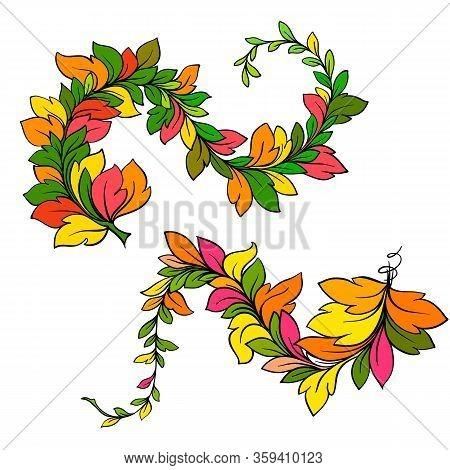 Red Branch Semicircle With Beautiful Foliage. Vector Winding Branch With Autumn Foliage