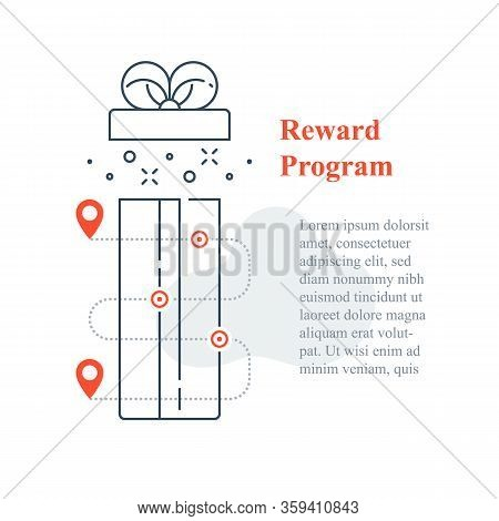 Surprise Gift Box Open, Reward Program, Incentive Present, Win Special Prize, Earn Loyalty Points, C