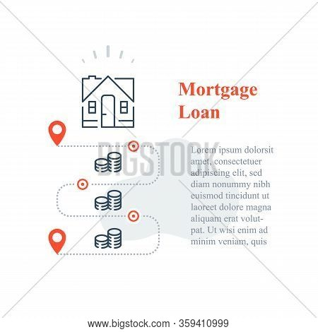 Mortgage Loan Concept, Purchase House, Home Ownership, Down Payment, Long Term Interest Rate, Househ