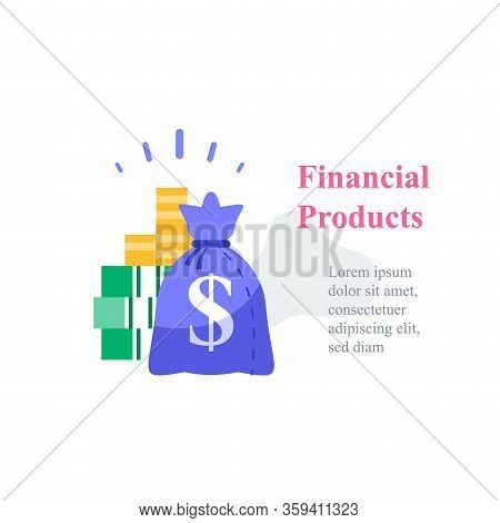 Investment Concept, Revenue Growth, Financial Solution, Pension Fund, Savings Account, Fast Cash Loa
