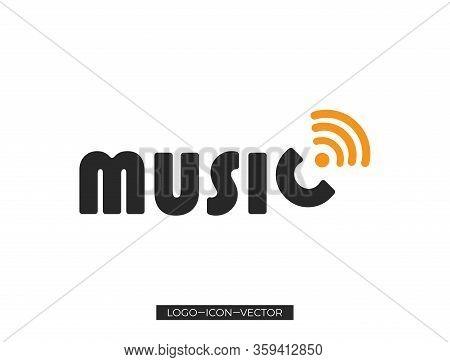Music Text Icon, Black Music Text Icon Design , Music Sign Icon Heart. Karaoke Symbol. Modern Callig
