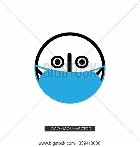 Emoticon With Medical Mask Vector Icon. Filled Flat Sign For Mobile Concept And Web Design. Sick Fac