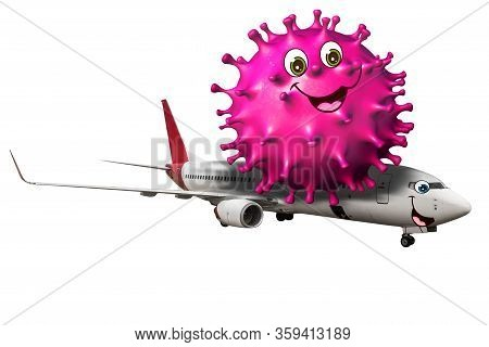 Comics Of Coronavirus Epidemic Riding An Airplane. Crisis Concept Of Airlines, Business Travel, And