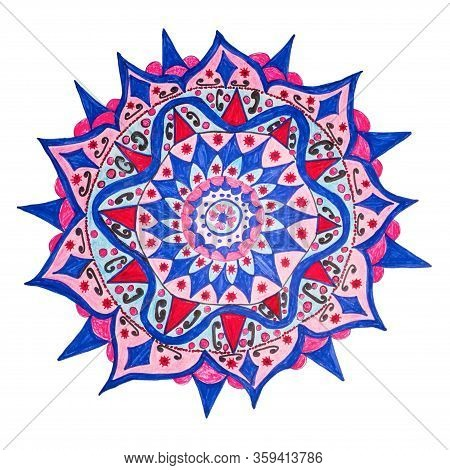 Colorful Oriental Decorative Hand Drawn Mandala Pattern, Includes Tiny Objects Resembles Corona Coov