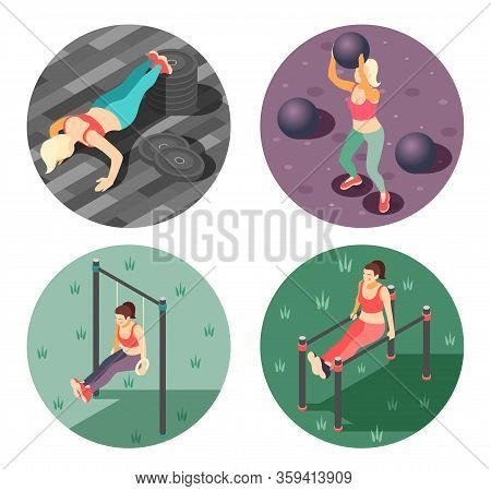 Total Body Workout Concept 4 Isometric Round Compositions With Rings Gym Parallel Bars Push Ups Vect