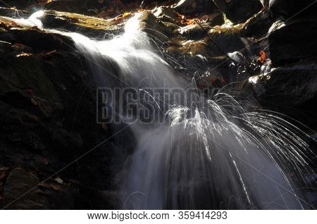 Source Vistula. Crystalline Stream, Clean Water And Waterfall