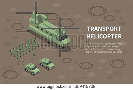 Military Air Force Helicopter Transport Troops Utility Cargo  Isometric Composition With Infantry Re