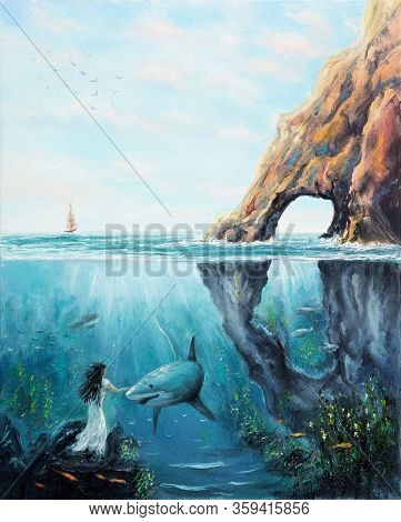 Original  Oil Painting Showing The Two Worlds Of The Ocean.fairy Woman Petting  A Shark.modern Impre