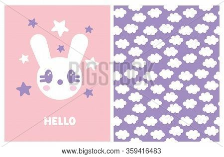 Ute Kawaii Style Baby Shower Vector Illustration And Seamless Pattern. Sweet White Baby Bunny Isolat