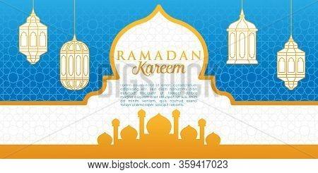 Ramadan Kareem Greeting Card, Ramadan Kareem Background. Ramadan Kareem Vector, Islamic Arabic Lantern. Ramadan Kareem. Ramadan Kareem Typography Vector Design For Greeting Cards And Poster. Greeting Card, Mosque Silhouette Ramadan Illustration