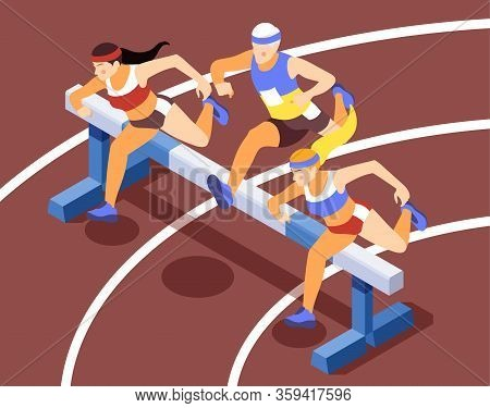 Sport Track Race Competition Isometric Background Compositions With Sprinting Athletes Running Hurdl