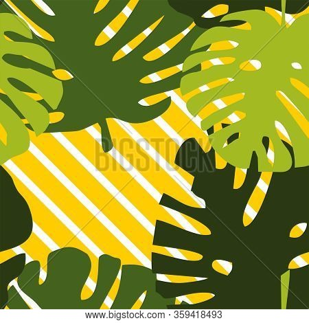 Green Tropical Leaves On Colorful White And Yellow Striped Vector Background