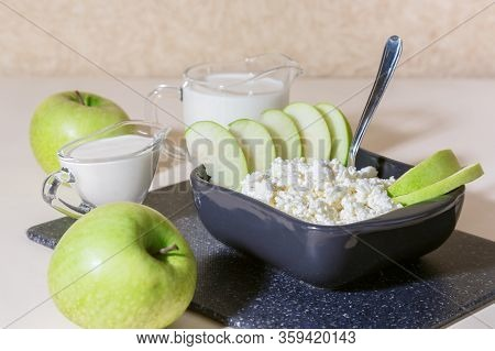 Healthy Balanced Nutrition, Dairy Products. Fresh Homemade Cottage Cheese With Fruits, Eggs, Kefir,