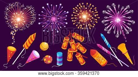 Fireworks Rockets Firecrackers Bengal Lights Smoke Balls Sparkles Colorful Festive Set Against Dark