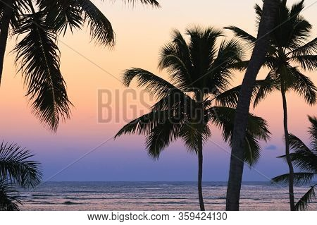 Travel Vacation Tropical Destination. Tropical Beach Sunset Landscape. Travel Vacations Destination.