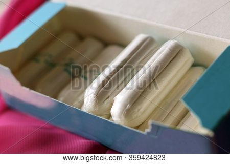 Women's Sanitary Tampons In The Box, Hygiene Products.