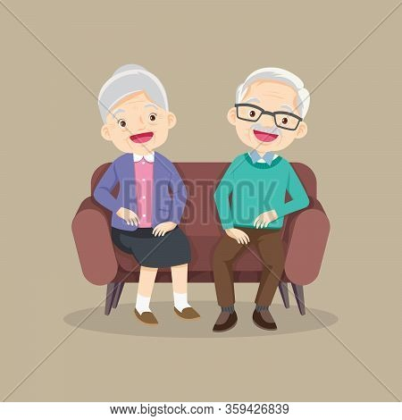 Happy Senior Man Woman Family Sitting On The Sofa And Rest,happy Elder Couple Sitting,elderly Couple