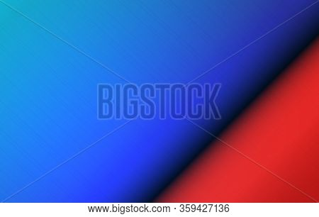 Abstract Color Background. Polished Metallic Spread. Blue And Red Round Steel Surface. Metal Brushed