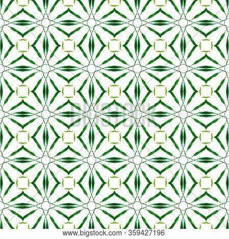 Green Geometric Chevron Watercolor Border. Green Bizarre Boho Chic Summer Design. Textile Ready Temp