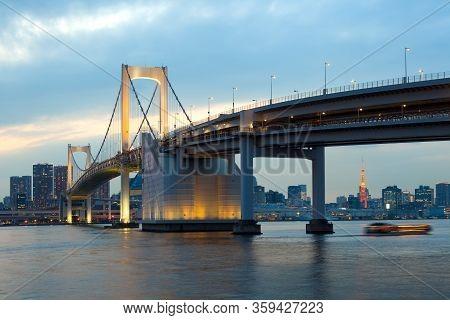 Rainbow Bridge And City Skyline From Odaiba, Tokyo, Kanto Region, Honshu, Japan