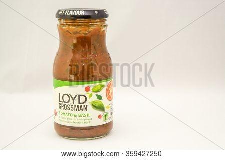 Torrevieja, Valenciana, Spain - Apr 04 2020 : Jar Of Loyd Grossman Tomato And Basil Sauce With Copy