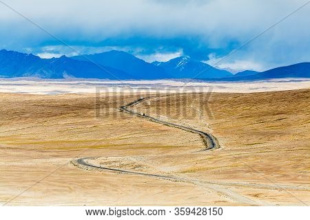 Beautiful View Of Pamir Highway In Tajikistan.