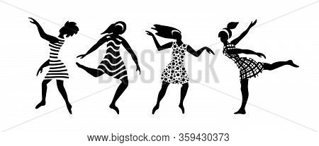 Group Of Happy Young Women Dancing. Black Female Silhouettes On White Background. Flat Vector Illust