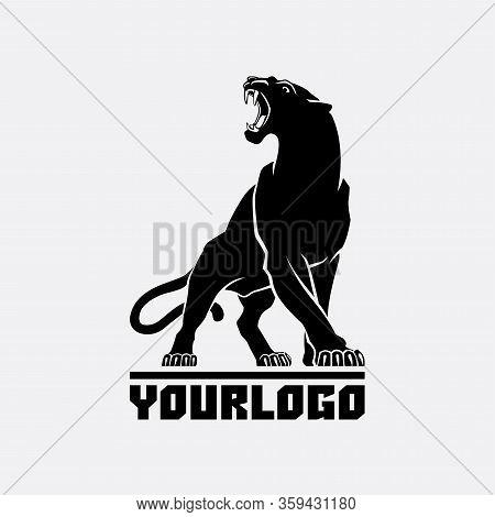 Black Panther Logo Sign Emblem Silhouette Vector Illustration On White Background Animal