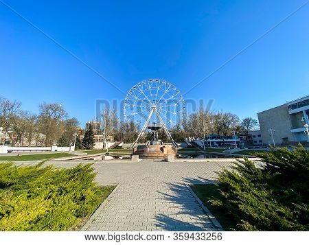 Rostov-on-don, Russia - April 2020: Empty City, Attractions Without People. Ferris Wheel One Sky And
