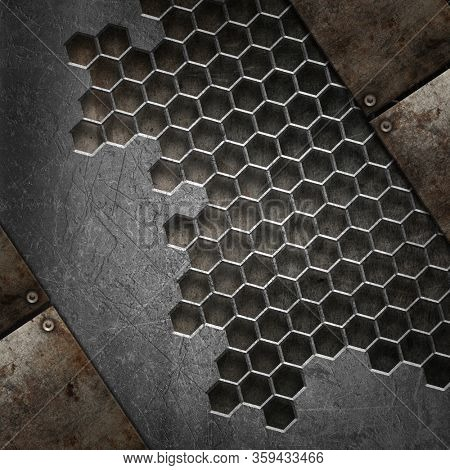 3D render of a grunge texture background with various metal designs