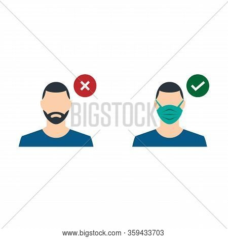 A Guy With A Medical Mask And A Guy Without A Mask. Entrance Only With A Medical Mask. Fight With Co