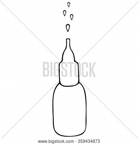 A Bottle Of Nasal Spray. Nasal Drops. Medication For Relieving Congestion. Vector Illustration. The