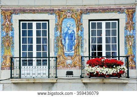 Beautiful Azulejos in Cascais in Portugal. beautiful architecture
