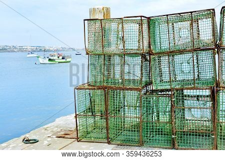 Fishing Port In Cascais In Portugal. Fishing Nets