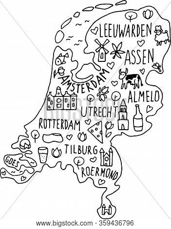 Hand Drawn Doodle Netherland Map. Holland City Names Lettering And Cartoon Landmarks, Tourist Attrac