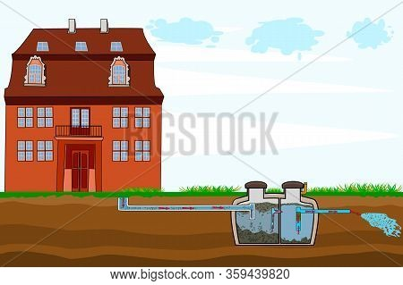 External Network Of Private Home Sewage Treatment System. Septic System And Drain Field Scheme. An U