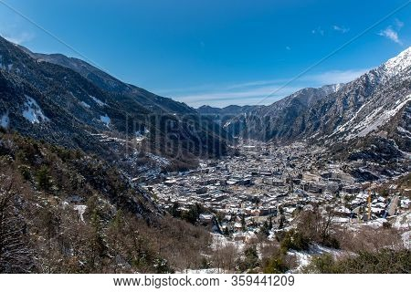 Andorra La Vella, Andorra : 2020 Feb 14 :  Aerial. Winter Day Whit Snow In The City Of Winter Of And