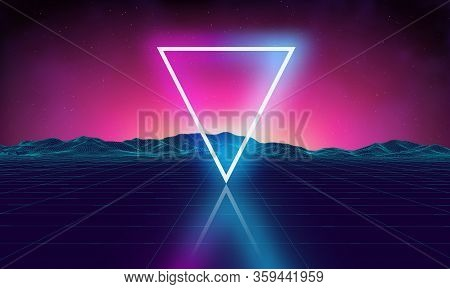 Retro Futuristic Background For Game. Music 3d Dance Galaxy Poster. 80s Background Disco. Neon Trian