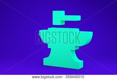 Green Anvil For Blacksmithing And Hammer Icon Isolated On Blue Background. Metal Forging. Forge Tool