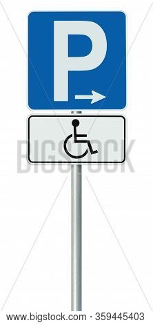 Free Handicap Disabled Parking Lot Road Sign, Isolated Handicapped Blue Badge Holders Only, White Tr