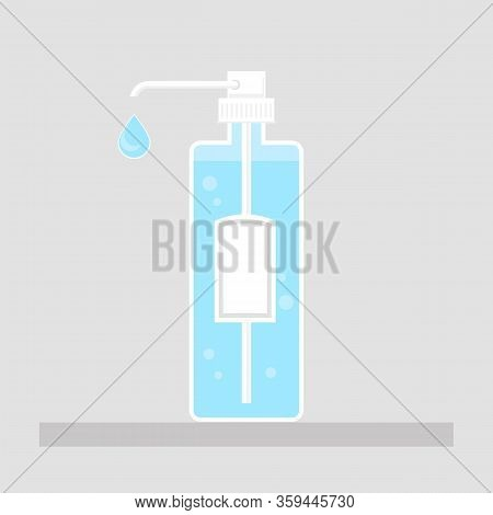 Hand Wash Gel Icon On Grey Background. Medical Sanitizer Symbol. Liquid Soap With Pumping From Bottl